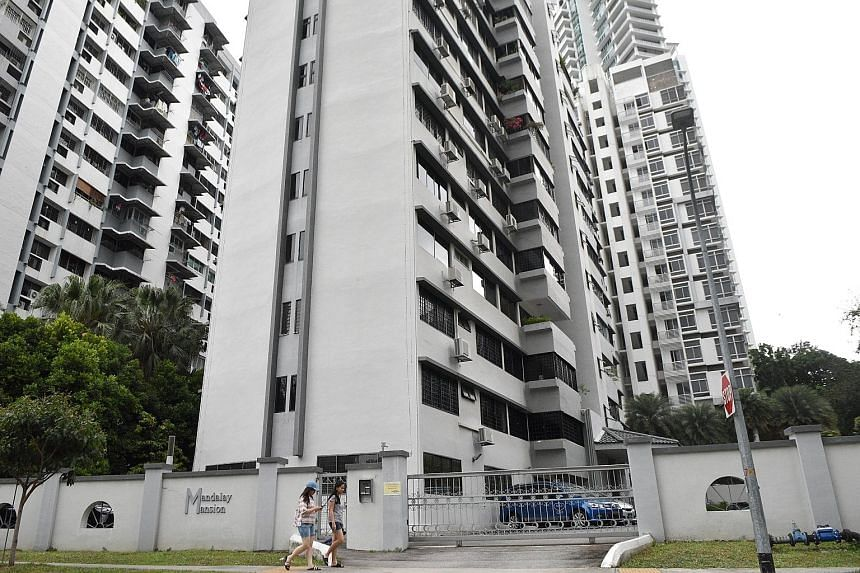 Mandalay Mansion, sited off Balestier Road, where the false ceiling of a penthouse collapsed due to the weight of spalling concrete that had accumulated on it. ST PHOTO: KELLY HUI