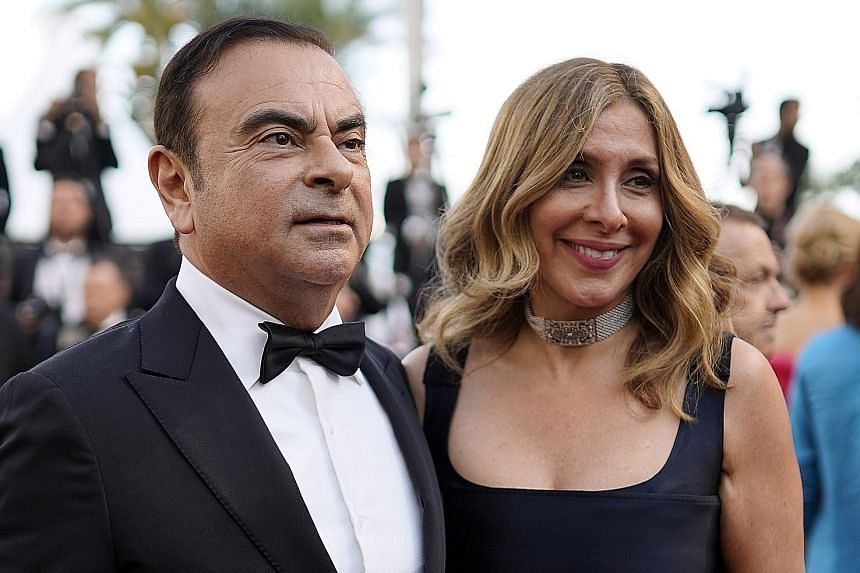 Fugitive car industry boss Carlos Ghosn and his wife Carole in happier times at the 71st annual Cannes Film Festival in France, in 2018. PHOTO: EPA-EFE