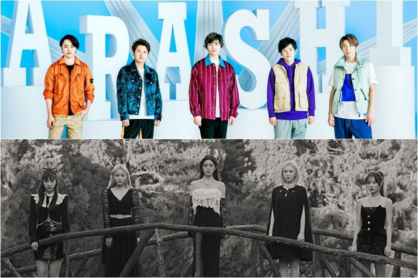 (From top) Japanese idol group Arashi and South Korean girl group Red Velvet released new music in the past month.
