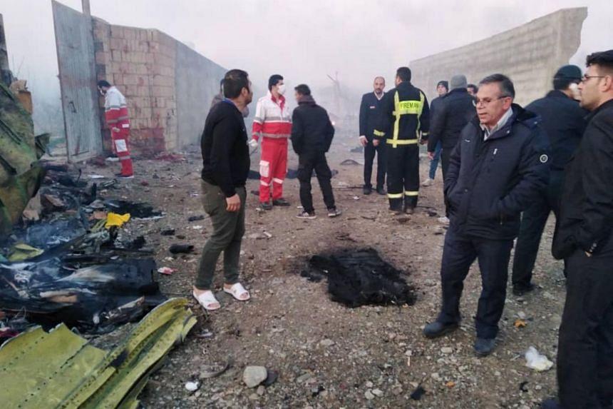 The crash site near Imam Khomeini Airport in Teheran.