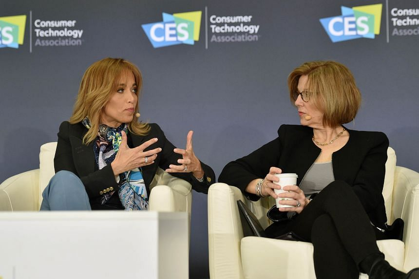 Facebook's chief privacy officer at Facebook Erin Egan (left) and Apple's senior director of global privacy Jane Horvath, participate in a privacy roundtable at CES 2020.