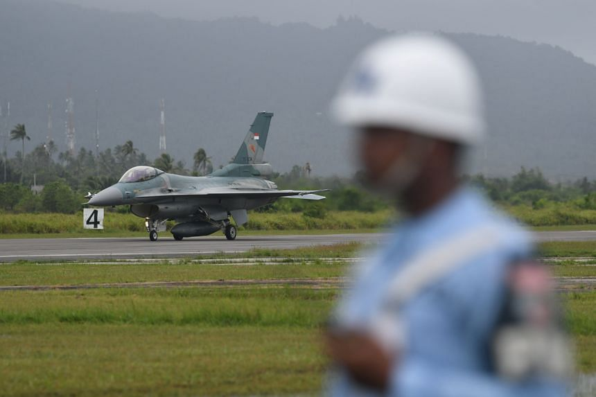 An F-16 C fighter jet arrives at Raden Sadjad military airbase on Natuna Island, Riau Islands province, Indonesia on Jan 7, 2020.
