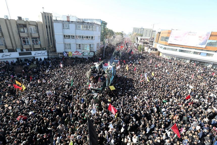 Iranians carry the coffin of late Iranian Revolutionary Guards Corps Lieutenant general and commander of the Quds Force Qasem Soleimani and his allies in his home town Kerman, Iran, on Jan 7, 2020.