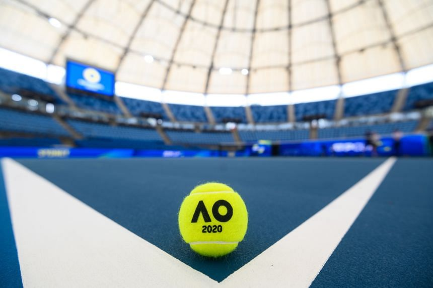An Australian Open 2020 tennis ball sits on a tennis court in Sydney on Dec 30, 2019.