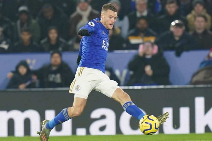 Leicester City's Jamie Vardy in action during the English Premier league soccer match between Leicester City and Liverpool held at the King Power stadium in Leicester, Britain, on Dec 26, 2019.