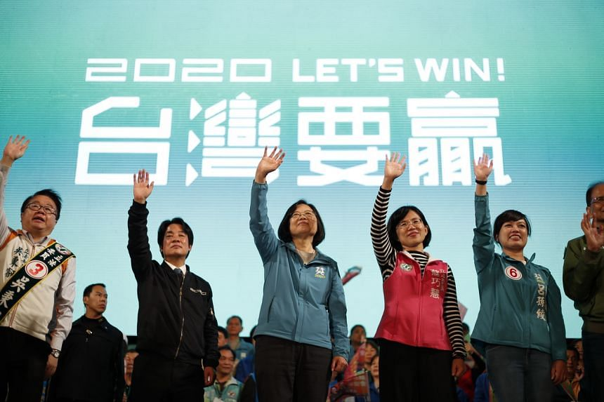 Taiwan President Tsai Ing-wen (centre) waves at supporters during an election campaign in New Taipei City, on Jan 5, 2020.