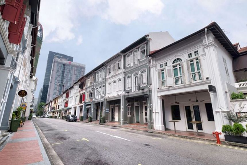 Two three-storey conservation shophouses in Tras Street (above) are up for sale and the guide price works out to about $2,800 per sq ft for each unit.