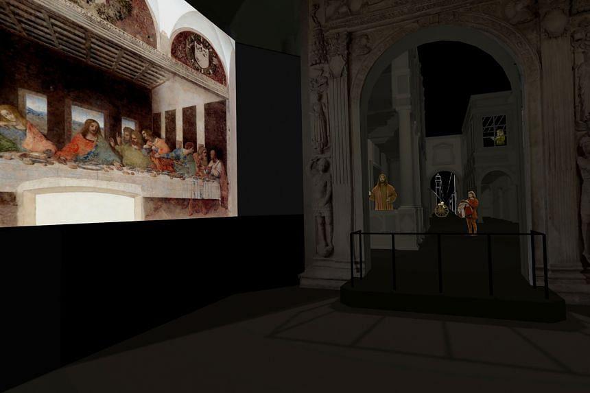 A multimedia presentation of Leonardo da Vinci's Last Supper at the Sforza Castle in Milan.