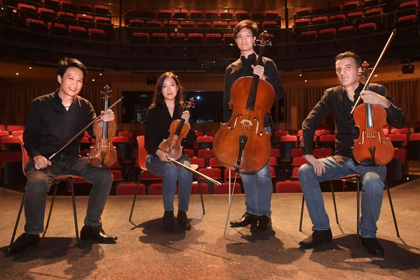 The Concordia Quartet is made up of prize-winning musicians (from left) Edward Tan (violin), Kim Kyu-ri (violin), Theophilus Tan (cello) and Matthias Oestringer (viola).