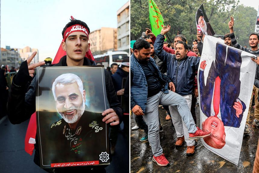 Right: People in New Delhi, India, protesting against US President Donald Trump yesterday over the killing of Maj-Gen Soleimani. Left: An Iranian with a picture of the general during a funeral procession in Teheran on Monday.