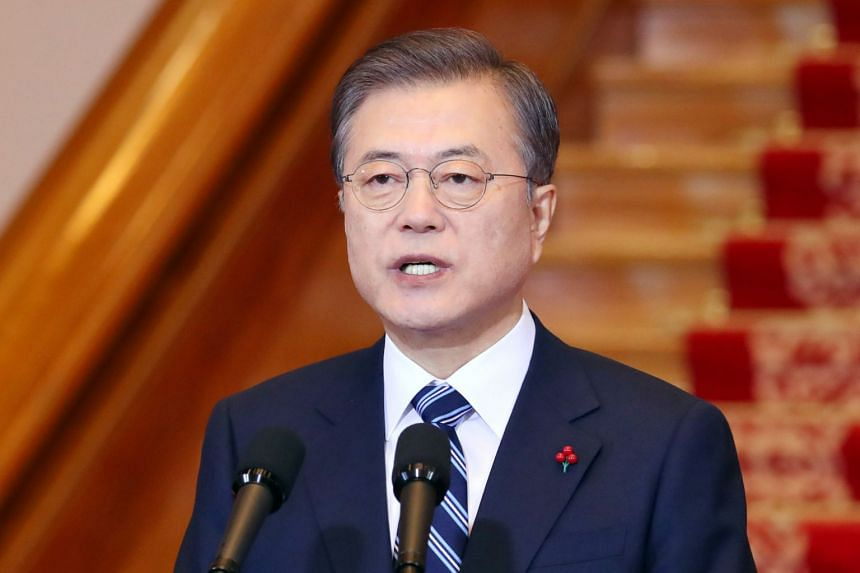 South Korean President Moon Jae-in delivers his New Year speech at the presidential Blue House in Seoul on Jan 7, 2020.