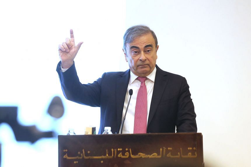 Former head of Nissan Motor and Renault Carlos Ghosn speaking at a press conference in Lebanon on Jan 8, 2020.