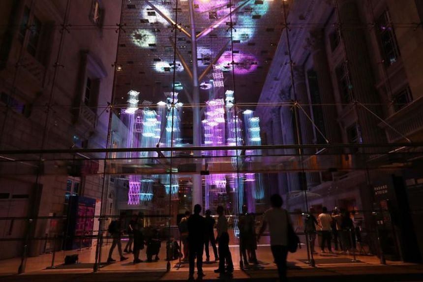 Floating Cities is the first hanging installation at the National Gallery Padang Atrium.