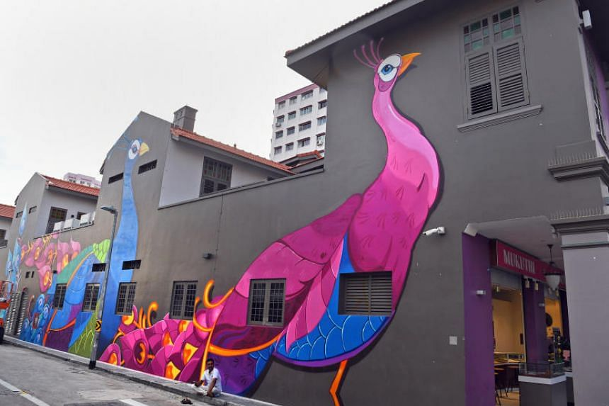A mural on the wall of Aqueen Heritage Hotel Little India, which is part of Artwalk Little India.