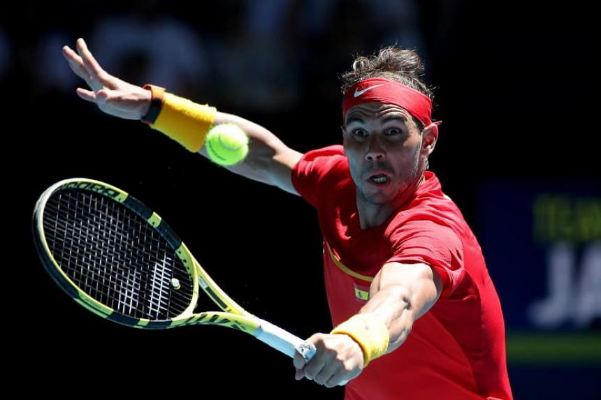 Rafael Nadal of Spain in action against Yoshihito Nishioka of Japan during the ATP Cup tennis tournament at the RAC Arena in Perth, Australia, on Jan 8, 2020.