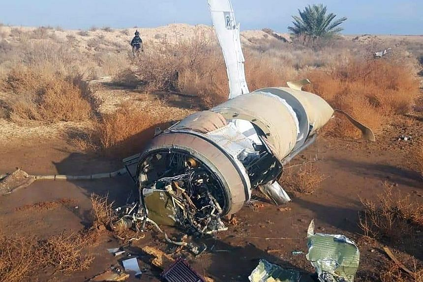Missile parts left on the ground near the town of Al-Baghdadi in Iraq after Iran bombed Ain al-Asad airbase yesterday. The joint command in Baghdad, which includes both Iraqi and international representatives, said that neither coalition nor Iraqi fo