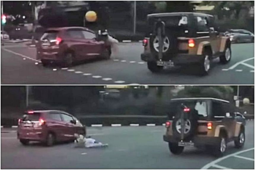 A video of the incident shows a red Honda car colliding with the student, causing him to flip and fall to the ground.