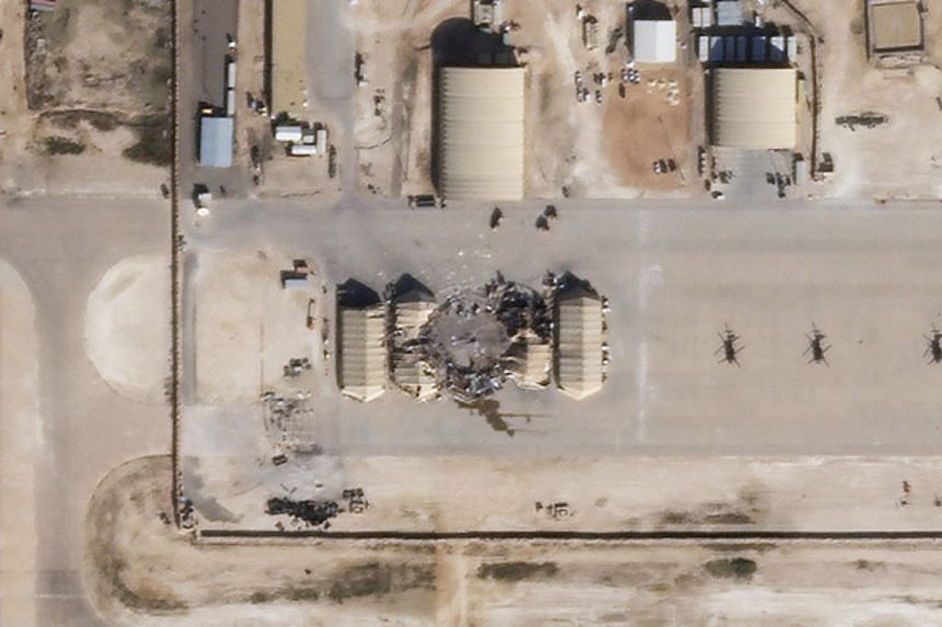 A Jan 8, 2020 satellite image reportedly shows damage to the Ain al-Asad US airbase in western Iraq, after being hit by rockets from Iran.