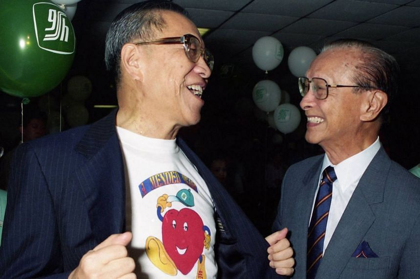 Mr Yong Pung How (left) sharing a light moment Singapore's former President Wee Kim Wee at the launch of the Children's Heart Day at the Singapore General Hospital, on Oct 1, 1994.