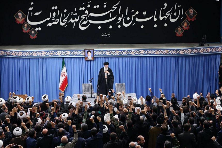 Iran's Supreme Leader Ayatollah Ali Khamenei addressing a meeting in Teheran, on Jan 8, 2020.