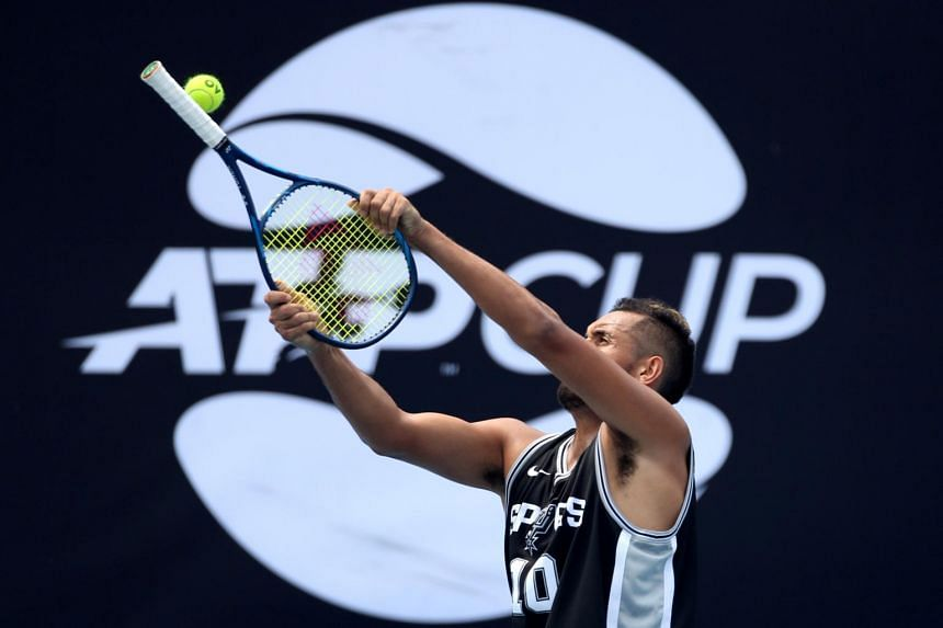 Australia's Nick Kyrgios during a practice session at the Ken Rosewall Arena in Sydney on Jan 8, 2020.