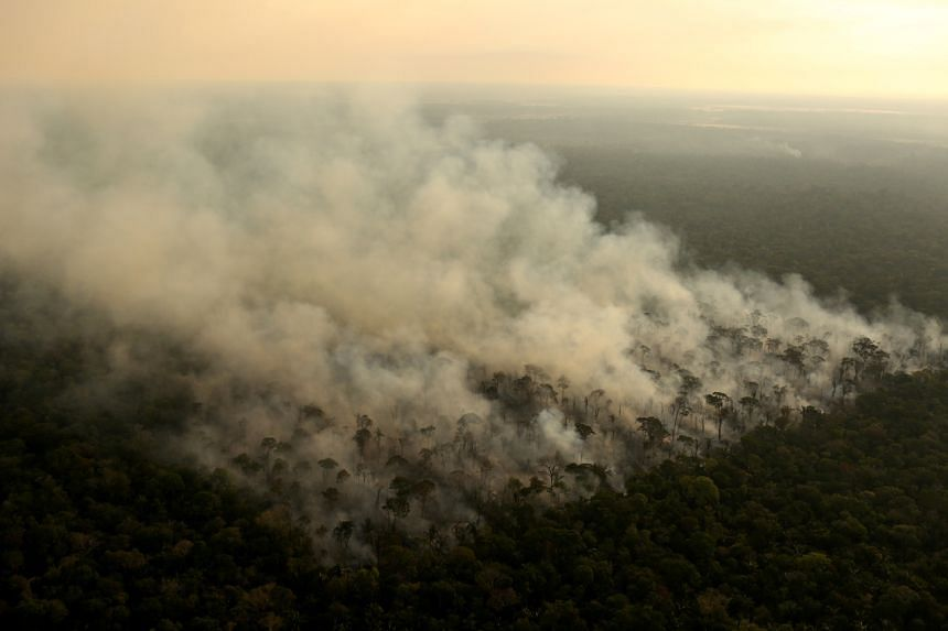 Smoke billows from a fire in an area of the Amazon rainforest near Porto Velho, Rondonia State, Brazil, on Sept 10, 2019.