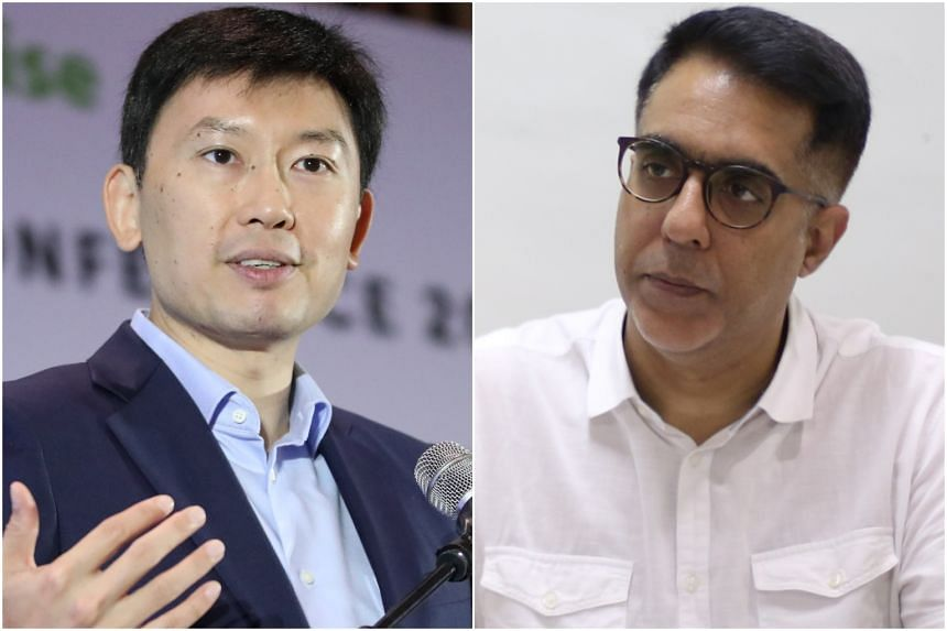 Senior Minister of State Chee Hong Tat (left) rebutted a Facebook post by Workers' Party chief Pritam Singh.