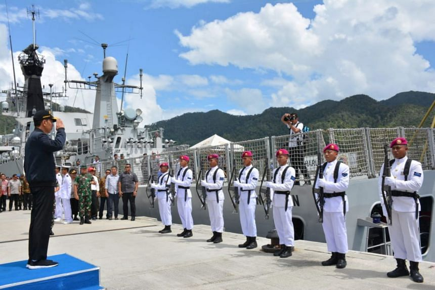 Indonesian President Joko Widodo at a military base in Natuna, Indonesia, near the South China Sea, on Jan 9, 2020.