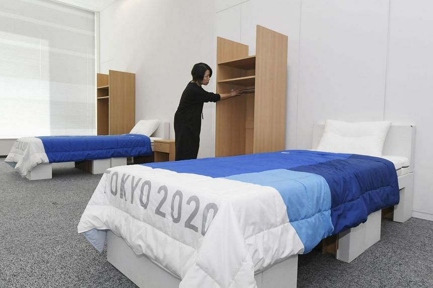The beds to be used by the athletes at the Tokyo 2020 Olympic and Paralympic Games in Tokyo on Jan 9, 2020.