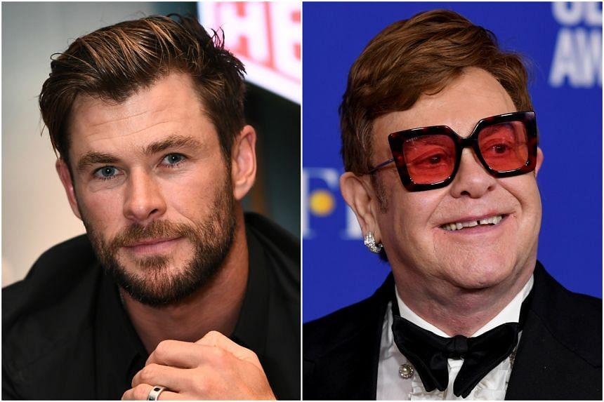 Australian actor Chris Hemsworth (left) and British singer Elton John each donated $1 million to aid those affected by Australian bush fires.
