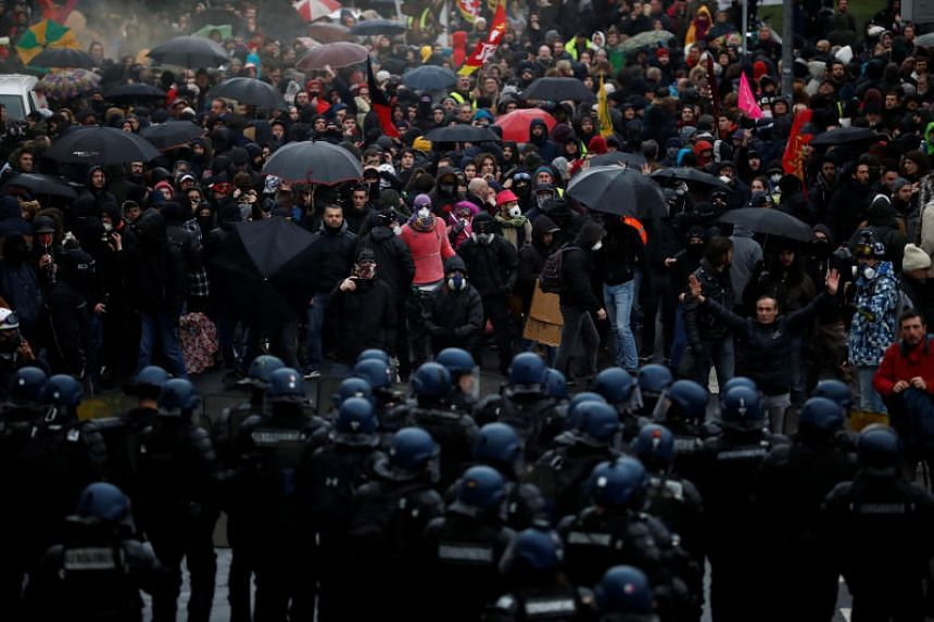 Demonstrators face off with police in Nantes, France,  on Jan 9, 2020.