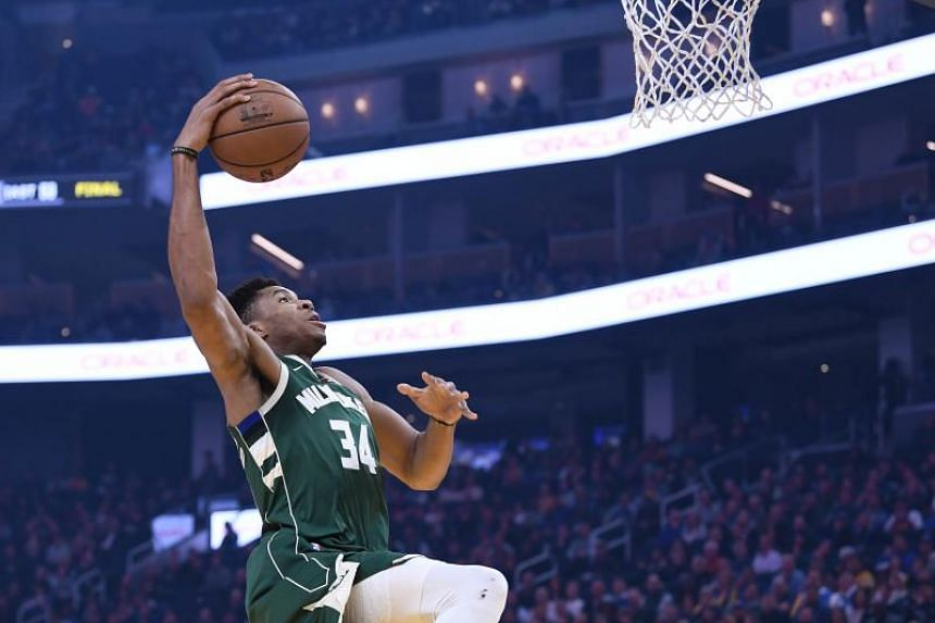 Giannis Antetokounmpo of the Milwaukee Bucks goes up for a slam dunk during an NBA basketball game against the Golden State Warriors on Jan 08, 2020 in San Francisco.