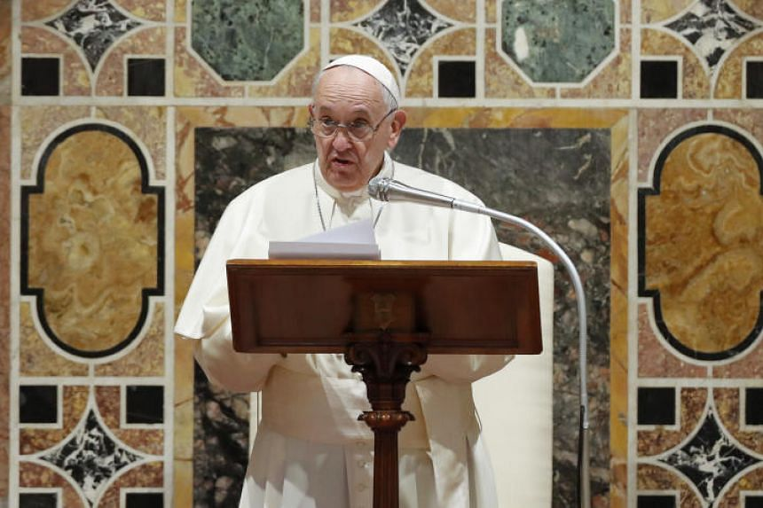 Pope Francis addresses diplomats in the Sala Regia hall at the Vatican on Jan 9, 2020.