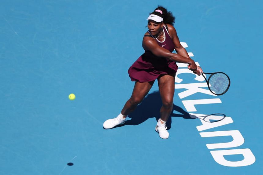 Serena Williams hits a return against Christina Mchale during their women's singles match at the Auckland Classic tennis tournament on Jan 9, 2020.