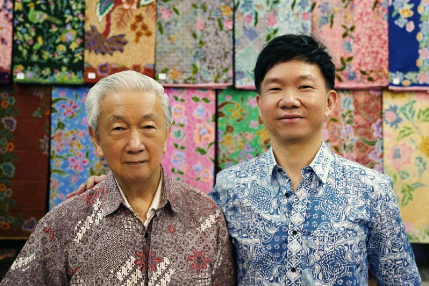 Wellie Batik's founder Ang Kum Siong and his son Eric.