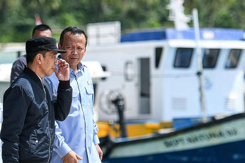 Indonesia's President Joko Widodo with Maritime Affairs and Fisheries Minister Edhy Prabowo during a visit to the Natuna Islands on Wednesday, after reports of alleged intrusion by Chinese vessels last month.
