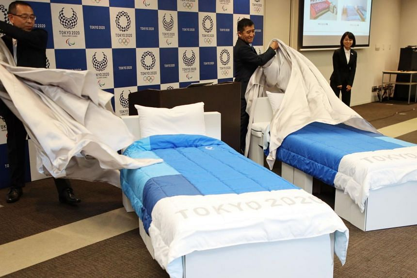 In a photo taken on Sept 24, 2019, beds made of cardboards for the Tokyo 2020 Olympic and Paralympic Village are displayed in Tokyo.