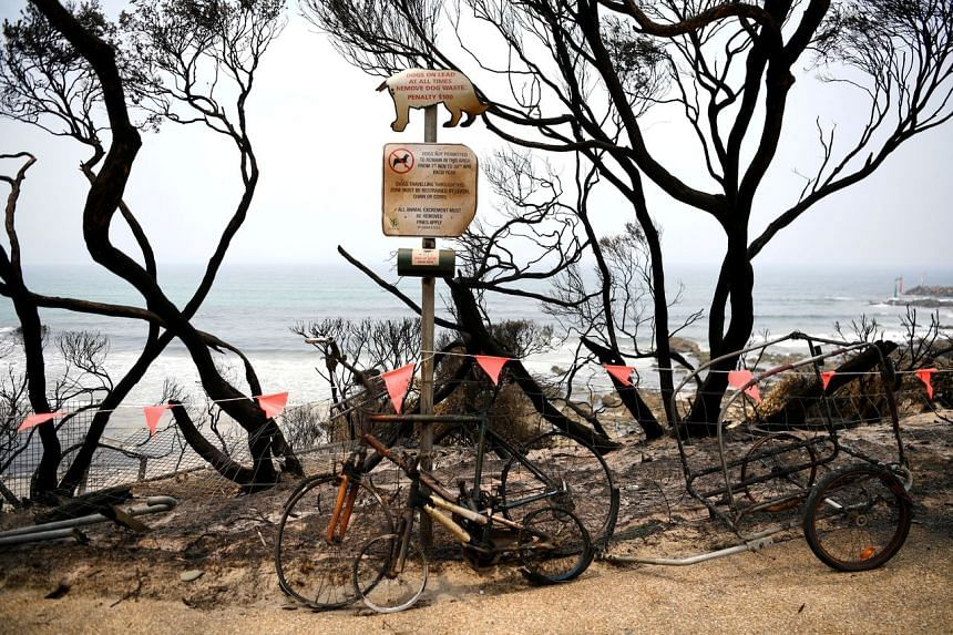 Burnt bicycles and trees in Mallacoota, Australia, on Jan 10, 2020.