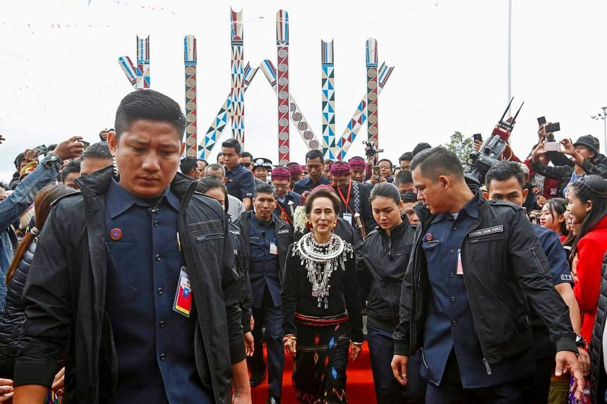 Myanmar State Counsellor Aung San Suu Kyi attends the 72nd Kachin State day ceremony in Myitkyina on Jan 10, 2020.