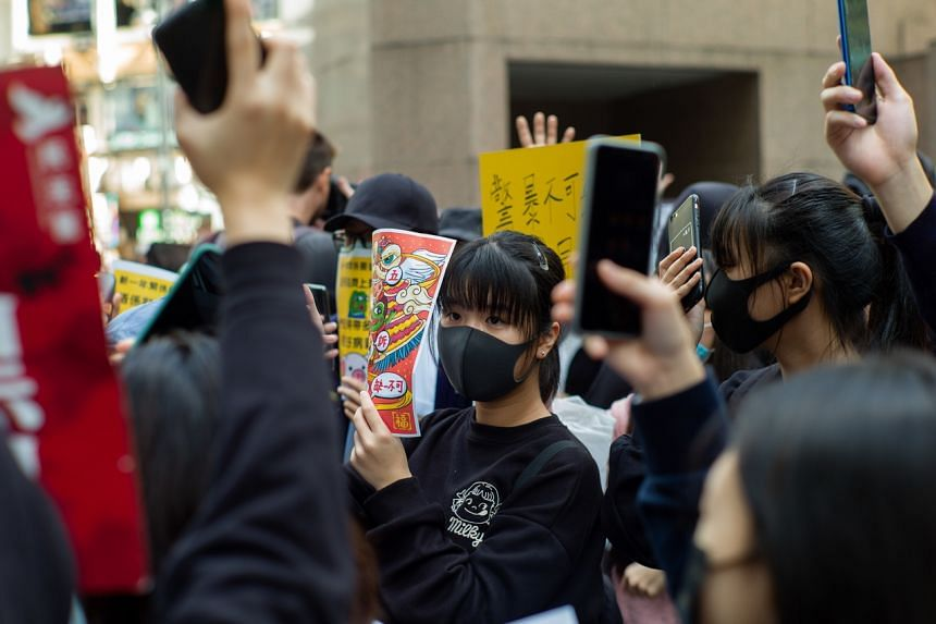 Pro-democracy protesters take part in a lunchtime rally in Hong Kong, on Jan 6, 2020.