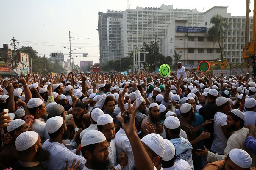 Islamist activists protesting a day after deadly clashes when police shot at Bangladeshi Muslims, on Oct 21, 2019.