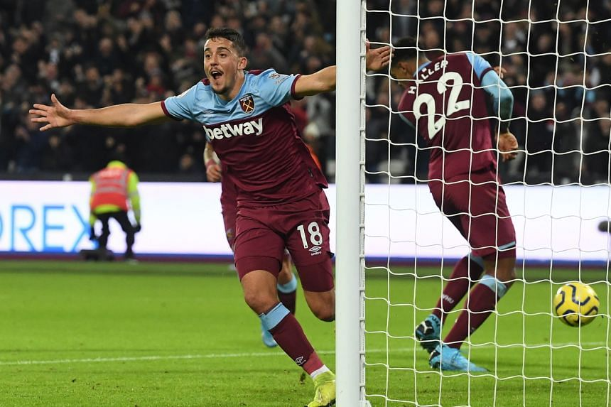 West Ham's Pablo Fornals in action against Leicester City in London, Britain, on Dec 28, 2019.