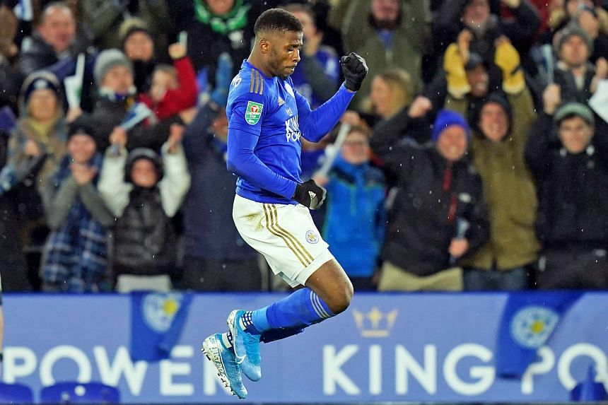 Leicester's Kelechi Iheanacho celebrating after scoring the equaliser in the 1-1 League Cup semi-final, first-leg draw with Aston Villa on Wednesday. The Foxes, who are flying high in second place in the Premier League table, are seeking their first