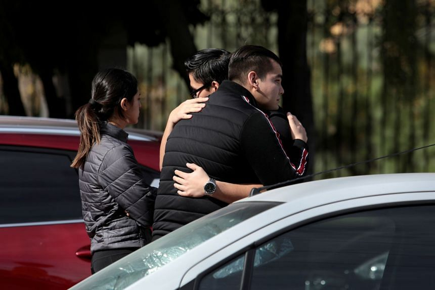 People react outside a private school in Mexico after a boy shot a teacher and wounded several students.