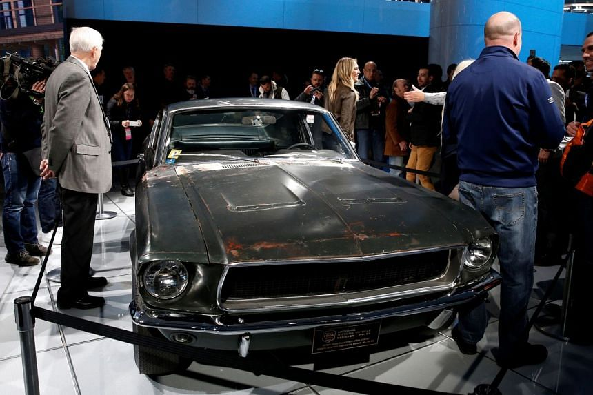 """The 1968 """"Bullitt"""" Ford Mustang is presented at the North American International Auto Show in Detroit, Michigan in 2018."""