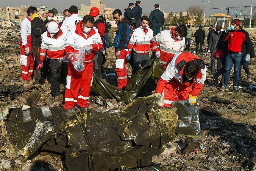 Rescue workers searching the wreckage of the Ukraine International Airlines jet which crashed shortly after take-off on Wednesday, killing all 167 passengers and 9 crew members.