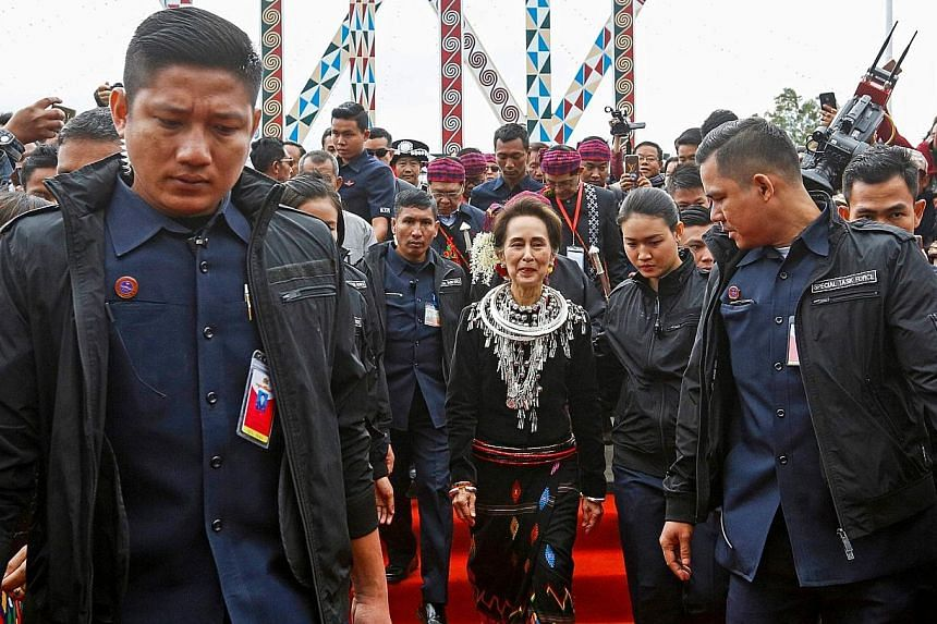 Myanmar leader Aung San Suu Kyi at the 72nd Kachin State Day ceremony in the state capital of Myitkyina yesterday.