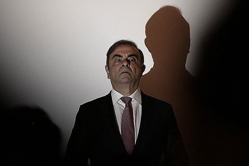 Nissan's former chairman Carlos Ghosn, after escaping from Japan on Dec 29, seen here arriving for a press conference in Beirut, Lebanon, on Wednesday.