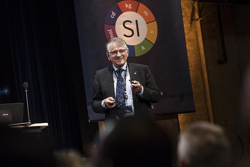 Professor Klaus von Klitzing, winner of the 1985 Nobel Prize in physics, speaking at a 2018 conference in Versailles, France. He will be one of 17 award-winning speakers at next week's Global Young Scientists Summit in Singapore. PHOTO: EPA-EFE
