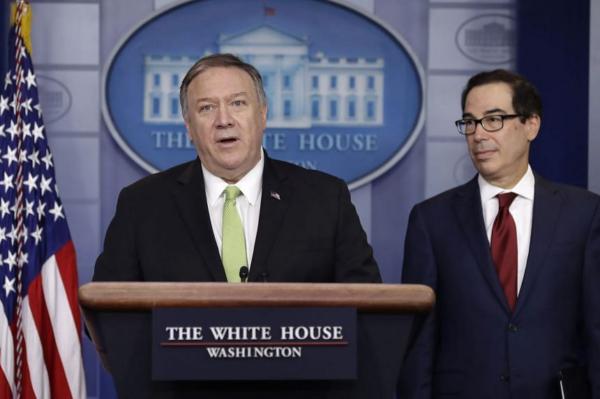 Secretary of State Mike Pompeo (left) and Treasury Secretary Steve Mnuchin brief reporters about additional sanctions placed on Iran.